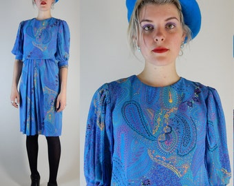 vintage 70s 80s dress baby blue chiffon paisley psychede pleated 1970s  1980s unique small to medium s to m 70's 80's