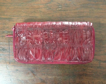 Vintage Eel wallet with zipper closure & multifunction section/60s Red Wine Eel wallet
