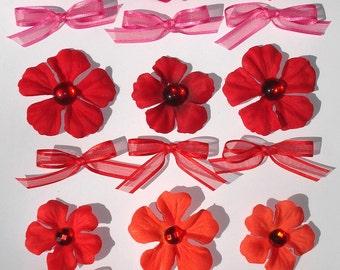 Inspiration Embellishment Kit Geranium Blossom Silk Flowers Bows Papercrafts Hair Bows Hat Making Needlecrafts Home Decor