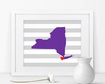New York City New York State Map Art Print New York Sign New York State Graduation Gift Map of New York Map Print New York Decor