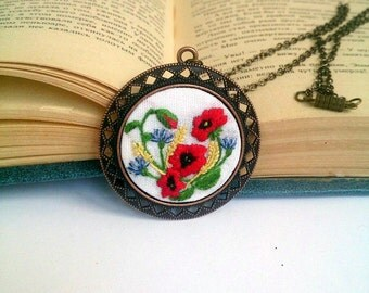 Poppy necklace Poppy flower embroidered jewelry Poppy jewelry Ukrainian embroidery Ukrainian jewelry Ukrainian art Embroidered necklace