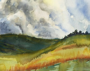 Clouds and Hills , Abstract Watercolour Painting, Original Artwork