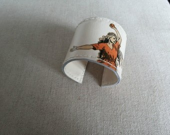Recycled Leather Cuff with vintage Portuguese cartoon