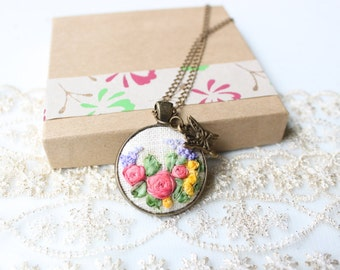 Kiss of a Butterfly. Embroidered Necklace. Floral Necklace. Embroidery Pendant. Garden Flower Necklace. Hand Stitched Flower Necklace.