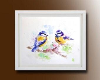 Tit bird, Original  Birds Painting, Original Watercolor Painting, Tit art