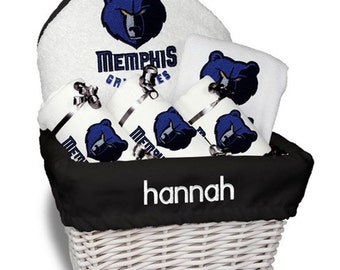 Personalized Memphis Grizzlies Baby Gift Basket - Bib, 3 Burp Cloths, Towel Set - Medium