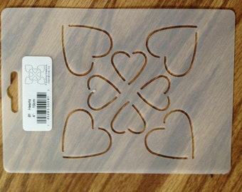"""Quilting Stencil Hearts 4"""""""