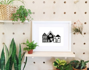 Nordic Art, Black and White Print, House Print, Black and White Wall Art, Scandinavian Print, Block Print Art, Printmaking, Home Art