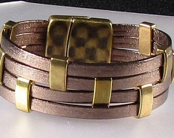 Bronze on Bronze  Metallic Leather Cuff
