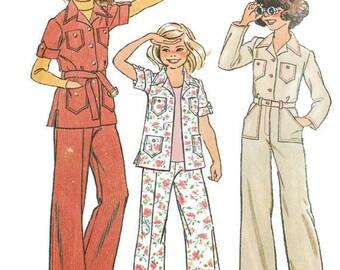 1970s Vintage Sewing Pattern - Simplicity 7034 - Girls Shirt Jacket Wide Leg Pants
