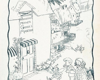 Vintage Children's Illustration, boy and girl going to Mother Goose's house, 1930's book picture, Digital Print, Instant Digital Download