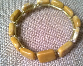 Yellow Marble Bangle Bracelet