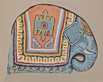 Vintage Handmade Elephant Pillow, Home Decor