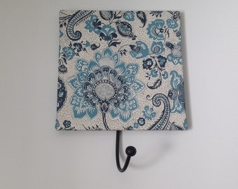 Decorative Wall Hook, Blue & White Floral, Wooden Tile with Metal Fitting, Bedroom Hook, Jewellery Hook, Bag Hook