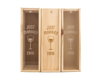 Wooden Wine Box (single) - Just married with year