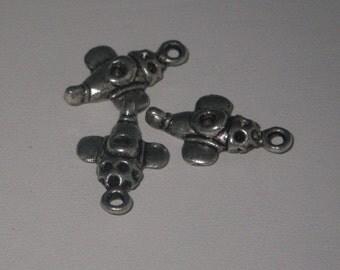 Charm aircraft metal silver 3 parts