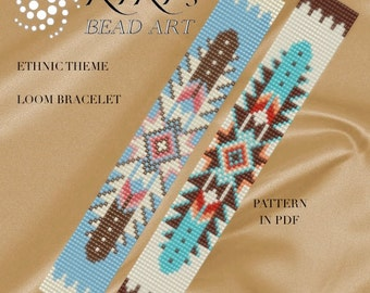 Bead loom pattern, Ethnic theme Native American inspired LOOM bracelet cuff pattern in PDF - instant download
