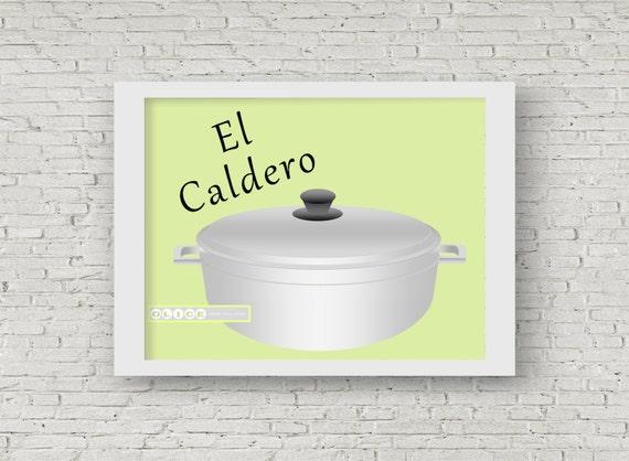 El Caldero Print Puerto Rican Rice Pot Nostalgic Puerto