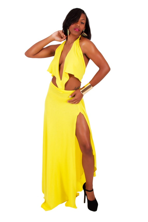 Custom designed boutique yellow full flare halter maxi  asymmetrical hem dress with slit on right leg Size S