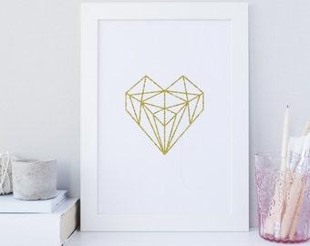 Geometric heart wall art print, scandinavian wall art, gold heart print, glitter print, digital download, home wall art, love art print