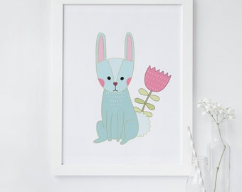 Rabbit wall art, rabbit art, rabbit nursery art , printable art, Bunny print, woodland animal print, Nursery print, nursery print, art