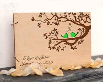 Wedding Guest Book, Rustic Custom Guest Book, Tree guest book, Love Birds, Laser Engraved, Bridal Shower, wedding guestbook, Wood Guestbook
