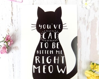 Cat Pun Postcard, Funny Cat Gift, Cat Stationary