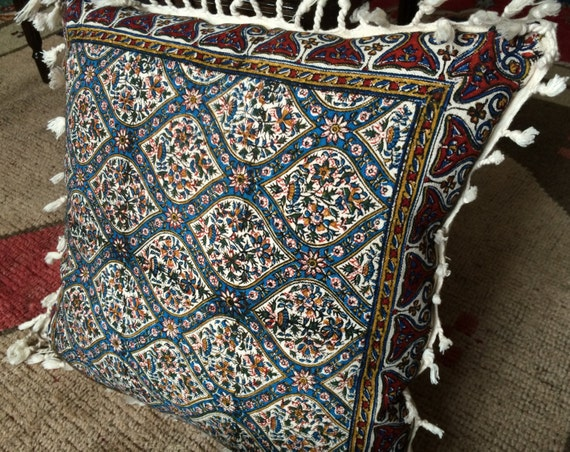 """Blue Cushion Cover With Tassels, 16"""" traditional pillow case, tapestry pillow , pillow cover, Irish linen"""