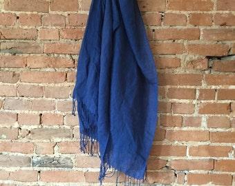 Vintage Blue Linen Scarf