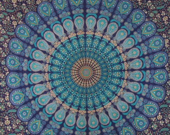 Reduced Shipping! Twin Size Fabric with Blue and more- Tapestry Mandala Bohemian Boho (1649/26)