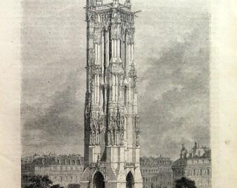 1858 Antique Saint-Jacques Gothic Tower  Paris print, vintage original  church building engraving, architecture construction in France plate