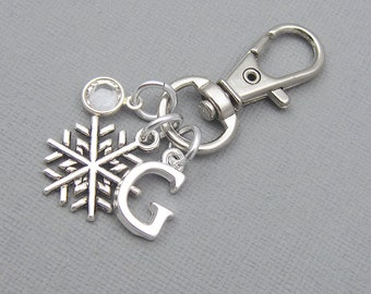 Personalized snowflake purse charm, zipper charm, silver initial, crystal birthstone, gift for her, snowflake bag charm, snowflake keychain