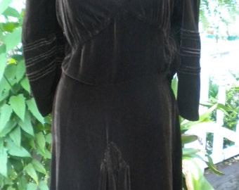 Chocolate Brown Silk Velvet '40's Dress
