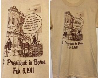 1980s Ronald Reagan shirt vintage small President