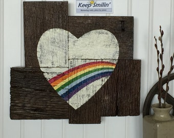Rustic Rainbow Heart