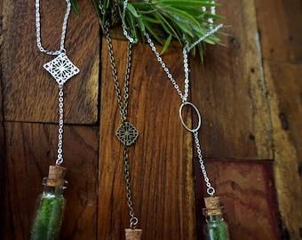 Live Plant Necklace, Moss Jewelry, Mini Terrarium Necklace, Live Mossm, Bohemian necklace, Filigree Necklace, Bronze/Silver Chain