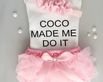 Coco Made me do it Onesie/ Coco Chanel onesie/ chanel onesie/ baby girl outfit/ sweetsparklebyGG