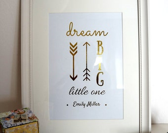Gold Foil Custom Nursery Art, Personalized Baby Print, Customized Gifts For Baby, Custom Baby Gift, Personalized Newborn Gift, Nursery Print