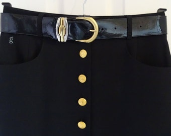 Vintage Gardeur Black Pencil Skirt  UK Size 10 *BELT INCLUDED*