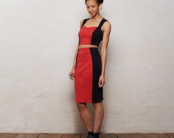 SALE Kirsten Ladies Two Piece Set with Crop Top and Pencil Skirt. Summer Strap Top and Stretch Midi Skirt Set in Red Monochrome
