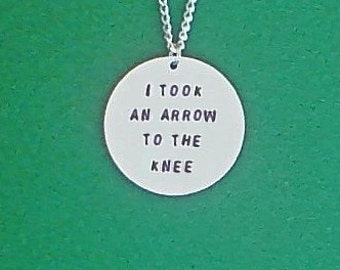 necklace- gamer necklace- meme necklace- i took an arrow to the knee- geek necklace- skyrim necklace
