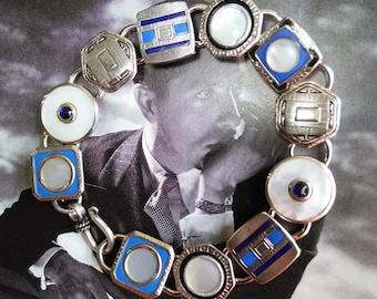 EDWARDIAN Cuff Link BRACELET, Black, Blue, Mother of Pearl and Elegant