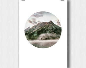 Printable poster, Mountains, Printable Art,  Drawing on photos, Circle Poster, 8x10 inch, A2 (A3, A4), Digital Art