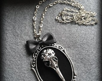 Crow Skull Necklace, Gothic Victorian Raven Skull Pendant, Steampunk, Black Velvet Cameo, Gothic Gift For Her, Handmade Jewelry, Alternative