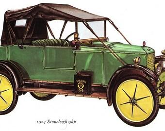 Antique Car Vintage Bookplate Print *1924 Stoneleigh 9 hp* Vintage Motorcars Colorful, Detailed Peter Griffin Illustration Home Decor