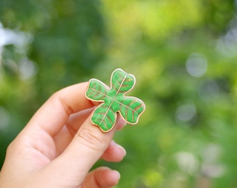 Four leaf clover brooch, clover jewelry, St Patricks day gift