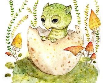 Dragon Fantasy Print Wall Dragon Decor Art Little Dragon Print Art Fantasy Creature Print Nursery Dragon Decor Wall