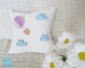 Air balloon flight pillow cover. Baby boy nursery. Baby girl room. Baby shower gift. Baby room decor. Baby pillow.  Kid room. Boy girl room