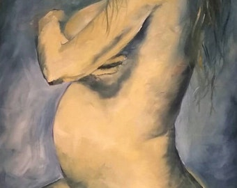 SALE - Maternity Figure Painting by Bay Area Artist Emily May