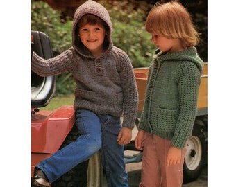 Childrens Hooded Sweater and Cardigan PDF Knitting Pattern : Boy or Girl 20, 22, 24 & 26 inch chest . Chunky . Hoodie Jumper . PDF Download